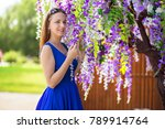 young girl in blue dresses... | Shutterstock . vector #789914764