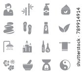 spa icons. gray flat design.... | Shutterstock .eps vector #789914914