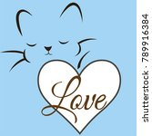 cat with heart on blue... | Shutterstock .eps vector #789916384