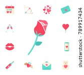 love rose flat line icon for...