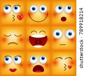 set of emoticons yellow faces.... | Shutterstock .eps vector #789918214