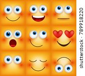 set of emoticons yellow faces.... | Shutterstock .eps vector #789918220