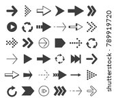 black arrows set. vector... | Shutterstock .eps vector #789919720
