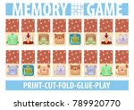 memory card game with cartoon... | Shutterstock .eps vector #789920770