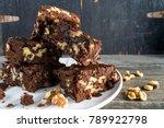 stack of walnut brownies in... | Shutterstock . vector #789922798