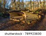 roofed timbered wind shelter... | Shutterstock . vector #789923830