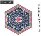 geometrical flower mandala sign.... | Shutterstock .eps vector #789926116