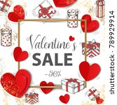 valentines sale banner with... | Shutterstock .eps vector #789929914