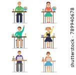 the children in class at school  | Shutterstock .eps vector #789940678