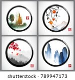 four illustration with... | Shutterstock .eps vector #789947173