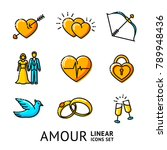 set of love  amour linear icons ... | Shutterstock .eps vector #789948436