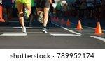 marathon runners running on... | Shutterstock . vector #789952174