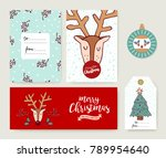 merry christmas greeting card... | Shutterstock . vector #789954640
