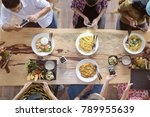 top view of happy people taking ... | Shutterstock . vector #789955639