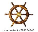 steering wheel. vintage wooden... | Shutterstock . vector #789956248