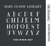 hand drawn serif alphabet.... | Shutterstock .eps vector #789958780