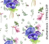 floral pattern with blue ... | Shutterstock . vector #789961249