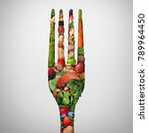 eat healthy food symbol as nuts ... | Shutterstock . vector #789964450