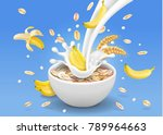 oatmeal with pouring milk oats... | Shutterstock .eps vector #789964663