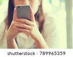 close up businesswoman hand... | Shutterstock . vector #789965359