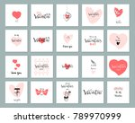 Stock vector romantic collection of cute hand drawn abstract valentine s day cards trendy backgrounds for 789970999