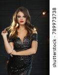beautiful woman with fashion... | Shutterstock . vector #789973738