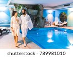 couple in relax at therme with... | Shutterstock . vector #789981010