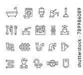 plumber related icons  thin... | Shutterstock .eps vector #789986089