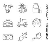 agriculture linear icons set.... | Shutterstock . vector #789990520
