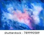 watercolor cosmic texture with... | Shutterstock . vector #789990589