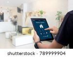 hands holding smart tablet with ... | Shutterstock . vector #789999904