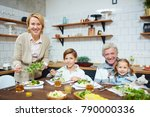 family of grandparents and two... | Shutterstock . vector #790000336