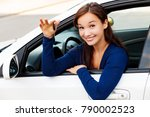 happy female driver showing car ...   Shutterstock . vector #790002523
