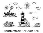 marine set in cartoon doodles... | Shutterstock .eps vector #790005778