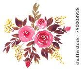 watercolor floral bouquet... | Shutterstock . vector #790008928