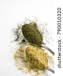 dill and seasoning for salad in ... | Shutterstock . vector #790010320