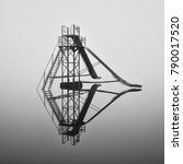lonely slide in a foggy water... | Shutterstock . vector #790017520