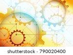 elegant golden gears abstract...   Shutterstock .eps vector #790020400