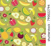 fruity pattern on a colored... | Shutterstock .eps vector #790022794