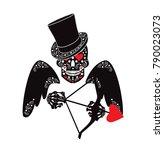 cupidon skull icon with arrow... | Shutterstock .eps vector #790023073