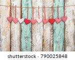 valentines day decoration red... | Shutterstock . vector #790025848