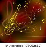 vector stylized saxophone on... | Shutterstock .eps vector #79002682