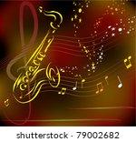 vector stylized saxophone on... | Shutterstock .eps vector #79002682