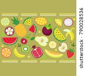 ornament of fruits and strips | Shutterstock .eps vector #790028536