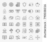 cryptocurrency line icons set.... | Shutterstock .eps vector #790038316