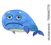 sad the watercolor whales | Shutterstock . vector #790040770