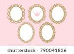 set of laser cut vector oval... | Shutterstock .eps vector #790041826