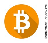 bitcoin circle icon with long...   Shutterstock .eps vector #790042198