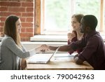 diverse young couple agreed... | Shutterstock . vector #790042963