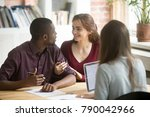 young diverse couple customers... | Shutterstock . vector #790042966